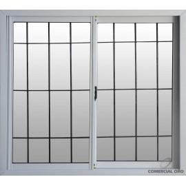 Ventana Eco De Aluminio Blanca Vidrio Entero Con Reja 0.60x0.40