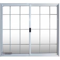 Ventana Basic Aluminio Blanco Vidrio Entero Con Reja 0.60x0.40