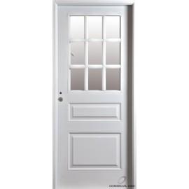 Puerta Nexo De Acero, Linea Deluxe , 3 Tableros Medio Vidrio, Inyectada De 90 Cmts Derecha