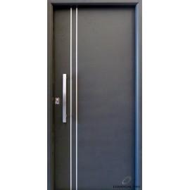 Puerta Nexo , Linea Deluxe Style, Lisa, Con Detalles Aluminio, De 90cmt Derecha Cerradura Europerfil