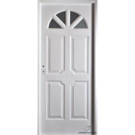 Puerta Nexo De Acero, Linea Semipremium , Chapa Simple, 4 Tableros Y Sol De Vidrio  88cmts Derecha