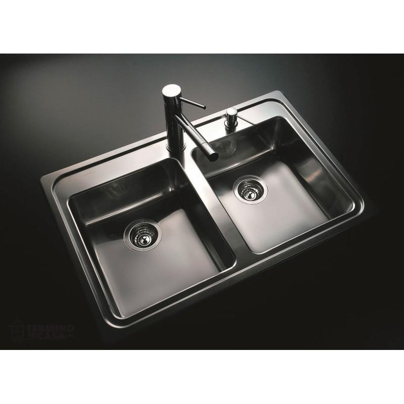 bacha de acero inox para cocina johnson doble q085a 85 5 x
