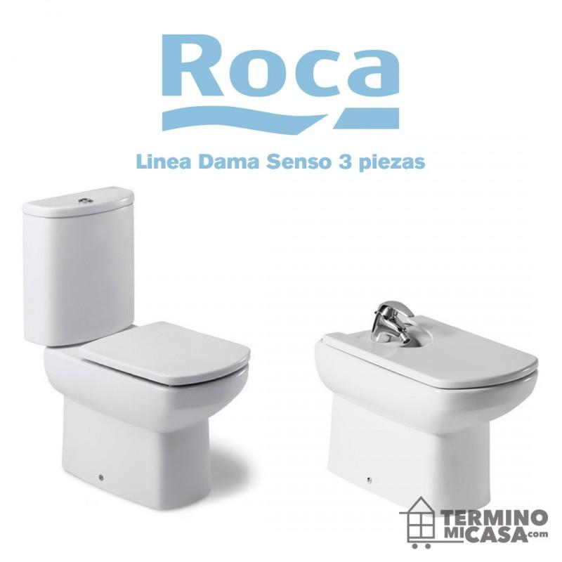 Juego sanitario roca dama senso 3 piezas largo con tapa for Roca dama senso precio