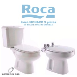 Juego Sanitario Roca Monaco 3 Piezas Largo Sin Tapa