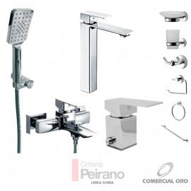 Kit Monocomando Soria Alto Con Accesorios Ducha Exterior