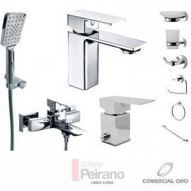 Kit Monocomando Soria Bajo Con Accesorios Ducha Exterior