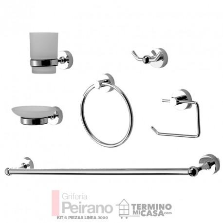 Set O Kit De 6 Piezas Accesorios Metalico Y Vidrio Esmerilado Para Baño  Linea 3000 7c20bfe8041f