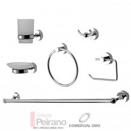 Set O Kit De 6 Piezas Accesorios Metalico Y Vidrio Esmerilado Para Baño Linea 3000