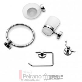 Set O Kit De 5 Piezas Accesorios Metalico Y Vidrio Esmerilado Para Baño Linea 3000