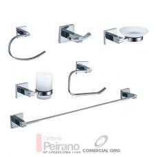 Set O Kit De 6 Piezas Accesorios Metalico Y Vidrio Esmerilado Para Baño Linea 11000