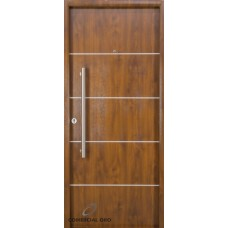 Puerta foliada Nexo Deluxe Wood 90 cm Nogal Der c/detalles aluminio